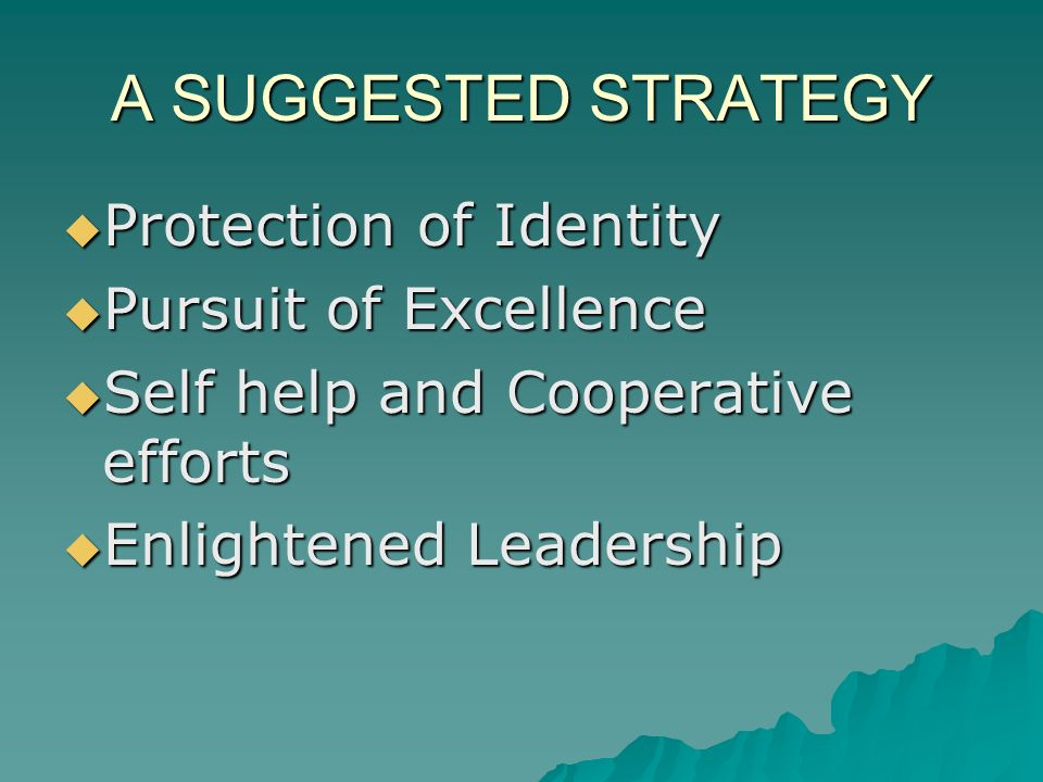 A SUGGESTED STRATEGY Protection of Identity Protection of Identity Pursuit of Excellence Pursuit of Excellence Self help and Cooperative efforts Self help and Cooperative efforts Enlightened Leadership Enlightened Leadership