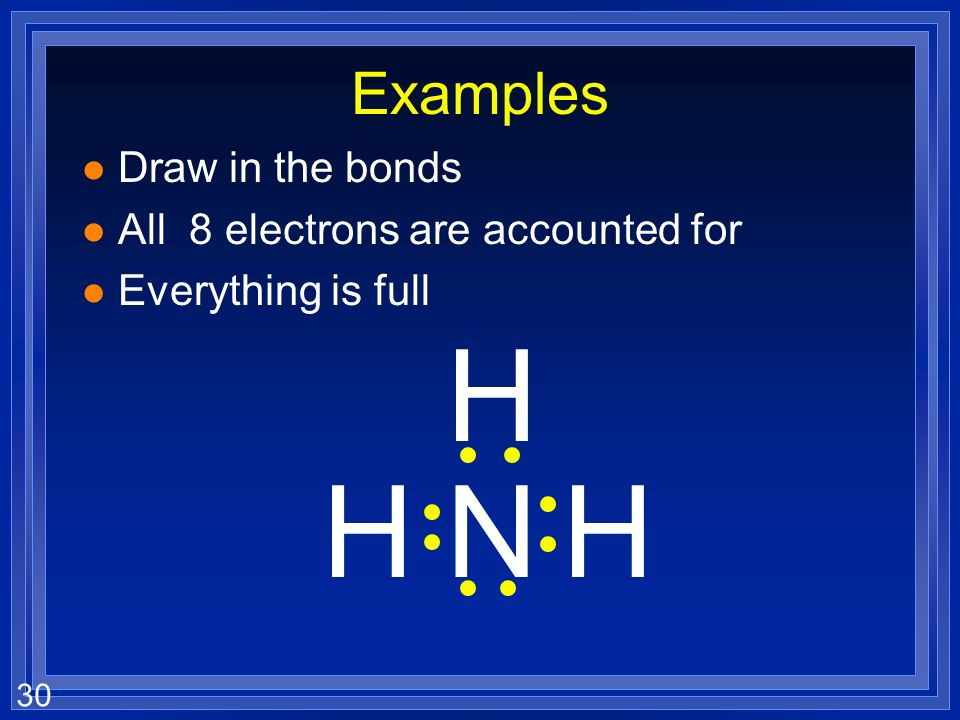 30 NHH H Examples l Draw in the bonds l All 8 electrons are accounted for l Everything is full