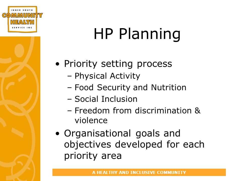 A HEALTHY AND INCLUSIVE COMMUNITY HP Planning Priority setting process –Physical Activity –Food Security and Nutrition –Social Inclusion –Freedom from discrimination & violence Organisational goals and objectives developed for each priority area