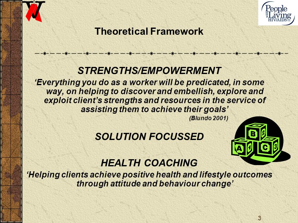 3 Theoretical Framework STRENGTHS/EMPOWERMENT Everything you do as a worker will be predicated, in some way, on helping to discover and embellish, explore and exploit clients strengths and resources in the service of assisting them to achieve their goals (Blundo 2001) SOLUTION FOCUSSED HEALTH COACHING Helping clients achieve positive health and lifestyle outcomes through attitude and behaviour change
