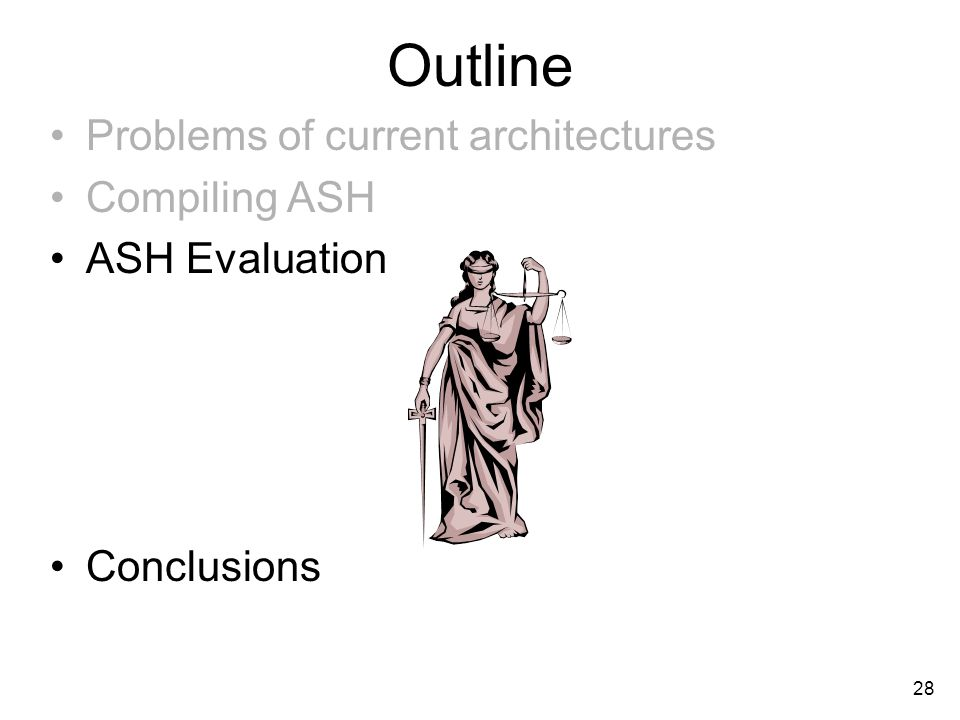 28 Outline Problems of current architectures Compiling ASH ASH Evaluation Conclusions