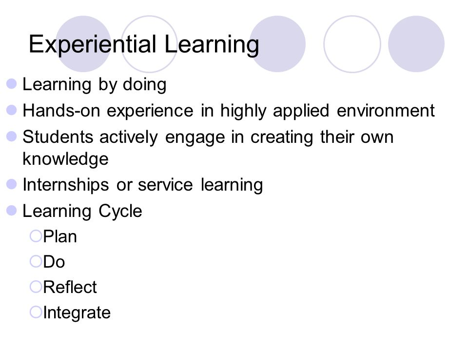 Experiential Learning Learning by doing Hands-on experience in highly applied environment Students actively engage in creating their own knowledge Internships or service learning Learning Cycle Plan Do Reflect Integrate