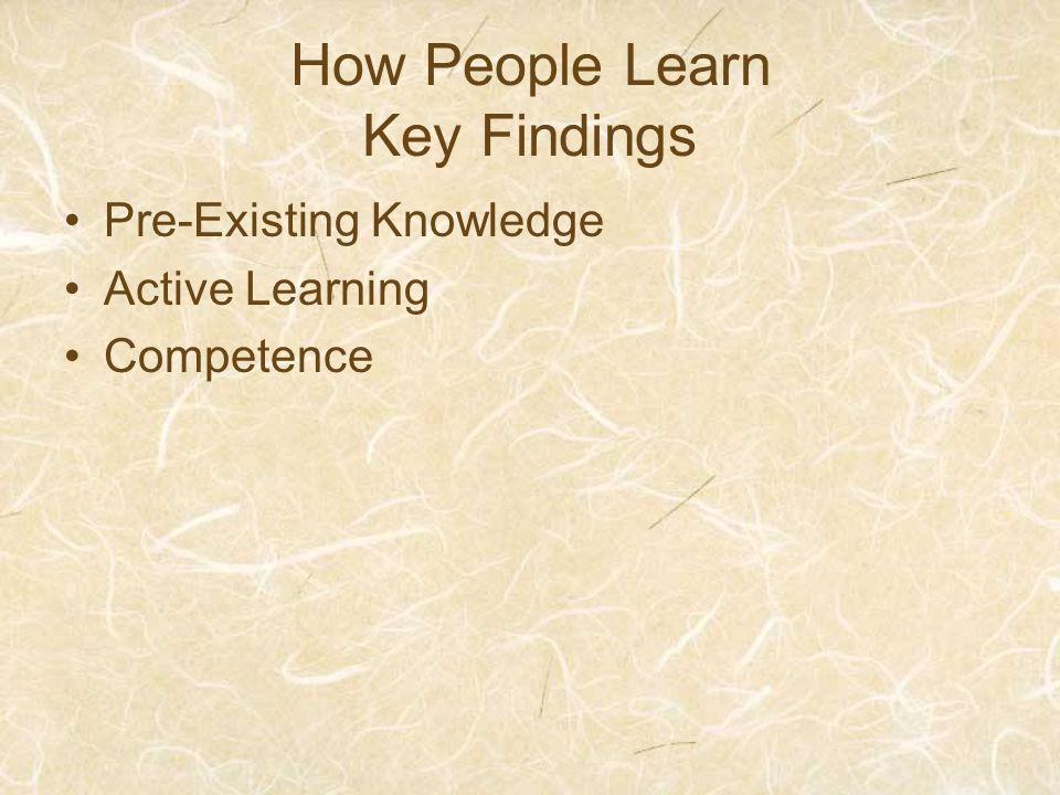How People Learn Key Findings Pre-Existing Knowledge Active Learning Competence