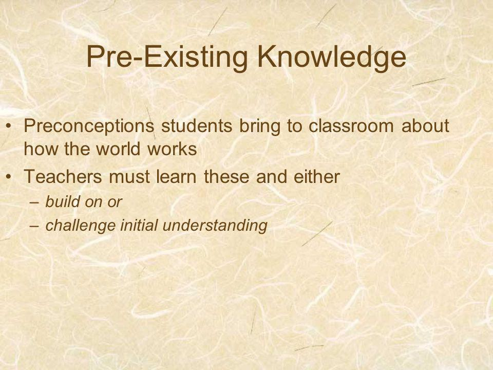 Pre-Existing Knowledge Preconceptions students bring to classroom about how the world works Teachers must learn these and either –build on or –challenge initial understanding
