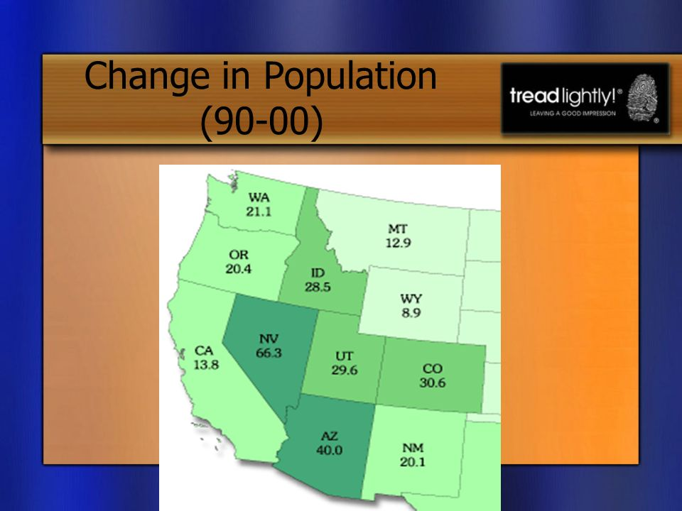 Change in Population (90-00) Source: Census Bureau. 2000.