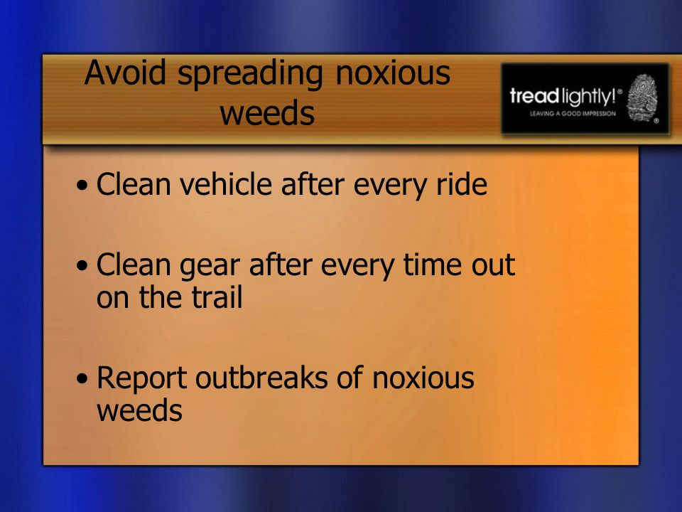 Avoid spreading noxious weeds Clean vehicle after every ride Clean gear after every time out on the trail Report outbreaks of noxious weeds