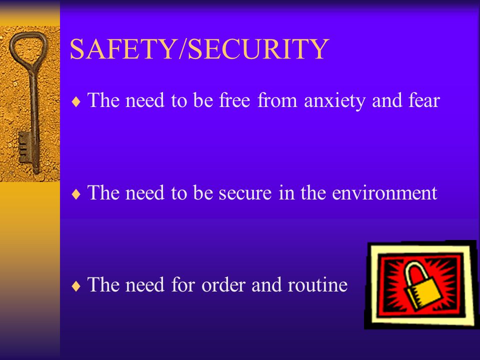 SAFETY/SECURITY The need to be free from anxiety and fear The need to be secure in the environment The need for order and routine