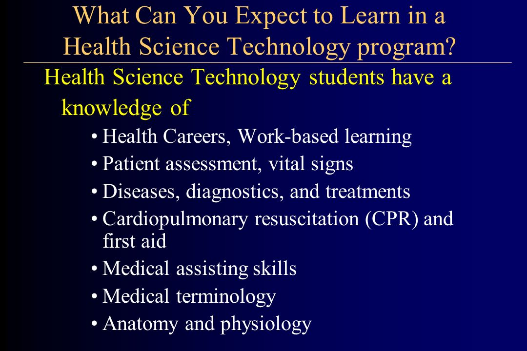 What Can You Expect to Learn in a Health Science Technology program.