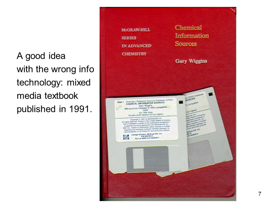 7 Little Red Book A good idea with the wrong info technology: mixed media textbook published in 1991.