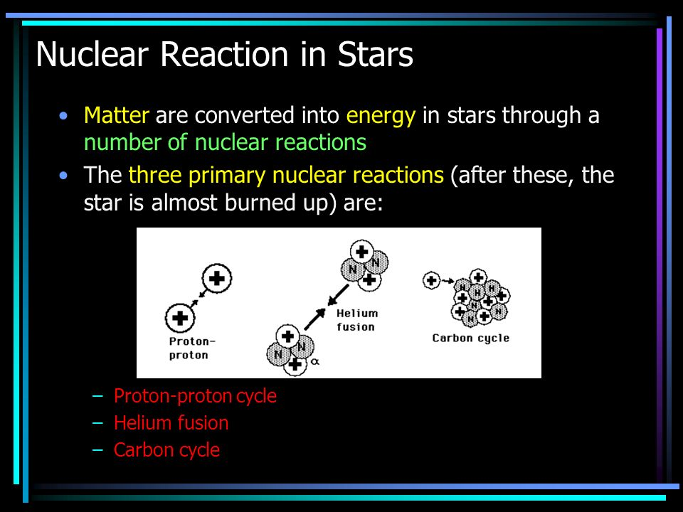 Matter are converted into energy in stars through a number of nuclear reactions The three primary nuclear reactions (after these, the star is almost burned up) are: –Proton-proton cycle –Helium fusion –Carbon cycle Nuclear Reaction in Stars