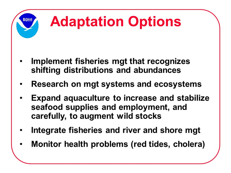 Adaptation Options Implement fisheries mgt that recognizes shifting distributions and abundances Research on mgt systems and ecosystems Expand aquaculture to increase and stabilize seafood supplies and employment, and carefully, to augment wild stocks Integrate fisheries and river and shore mgt Monitor health problems (red tides, cholera)