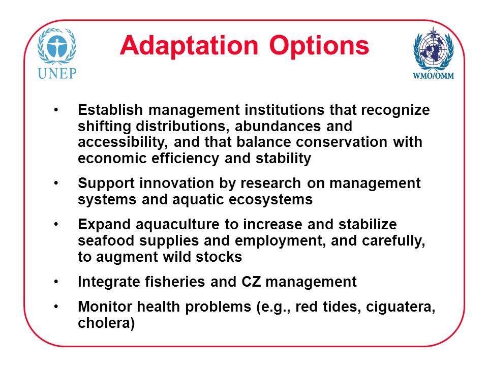 Adaptation Options Establish management institutions that recognize shifting distributions, abundances and accessibility, and that balance conservation with economic efficiency and stability Support innovation by research on management systems and aquatic ecosystems Expand aquaculture to increase and stabilize seafood supplies and employment, and carefully, to augment wild stocks Integrate fisheries and CZ management Monitor health problems (e.g., red tides, ciguatera, cholera)