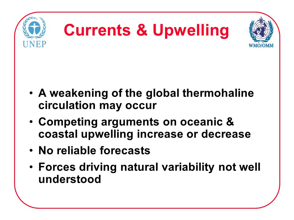 Currents & Upwelling A weakening of the global thermohaline circulation may occur Competing arguments on oceanic & coastal upwelling increase or decrease No reliable forecasts Forces driving natural variability not well understood