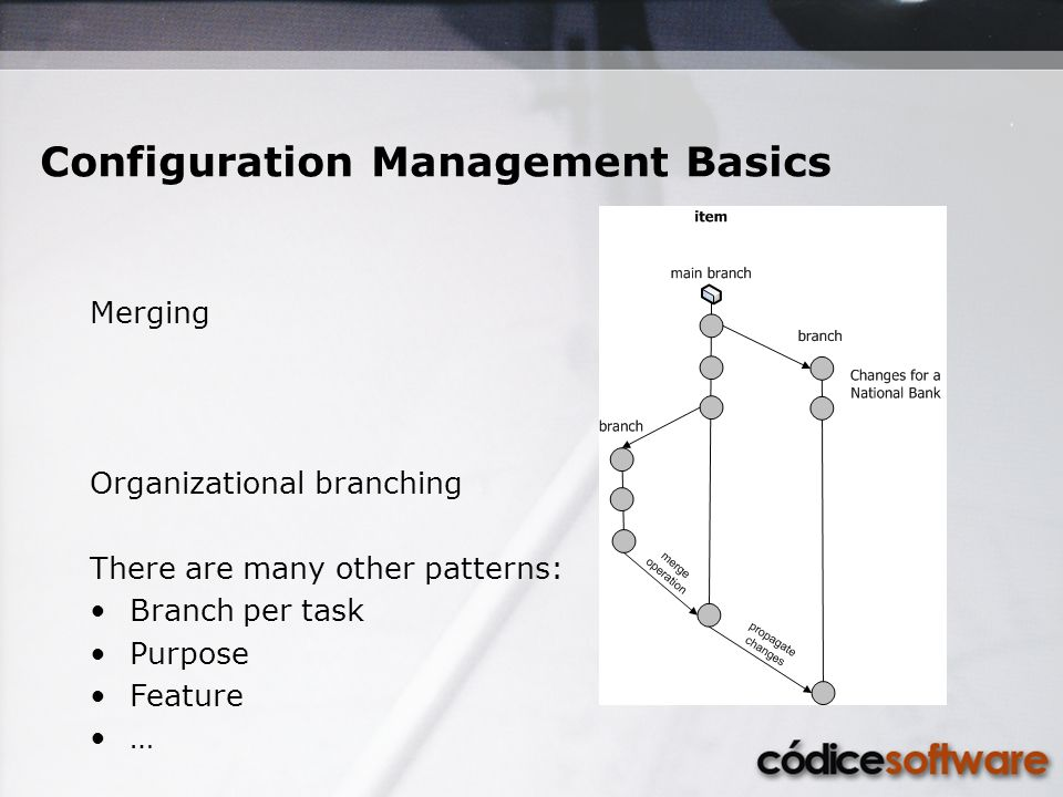 Configuration Management Basics Merging Organizational branching There are many other patterns: Branch per task Purpose Feature …