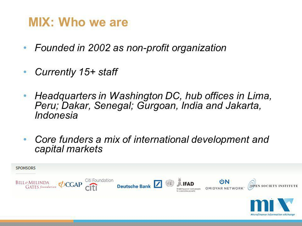 MIX: Who we are Founded in 2002 as non-profit organization Currently 15+ staff Headquarters in Washington DC, hub offices in Lima, Peru; Dakar, Senegal; Gurgoan, India and Jakarta, Indonesia Core funders a mix of international development and capital markets