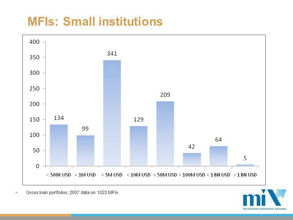 MFIs: Small institutions Gross loan portfolios; 2007 data on 1023 MFIs