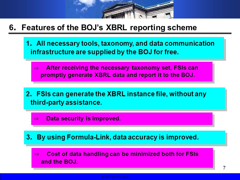 7 © 2008 Bank of Japan 6 Features of the BOJs XBRL reporting scheme 1 All necessary tools, taxonomy, and data communication infrastructure are supplied by the BOJ for free.