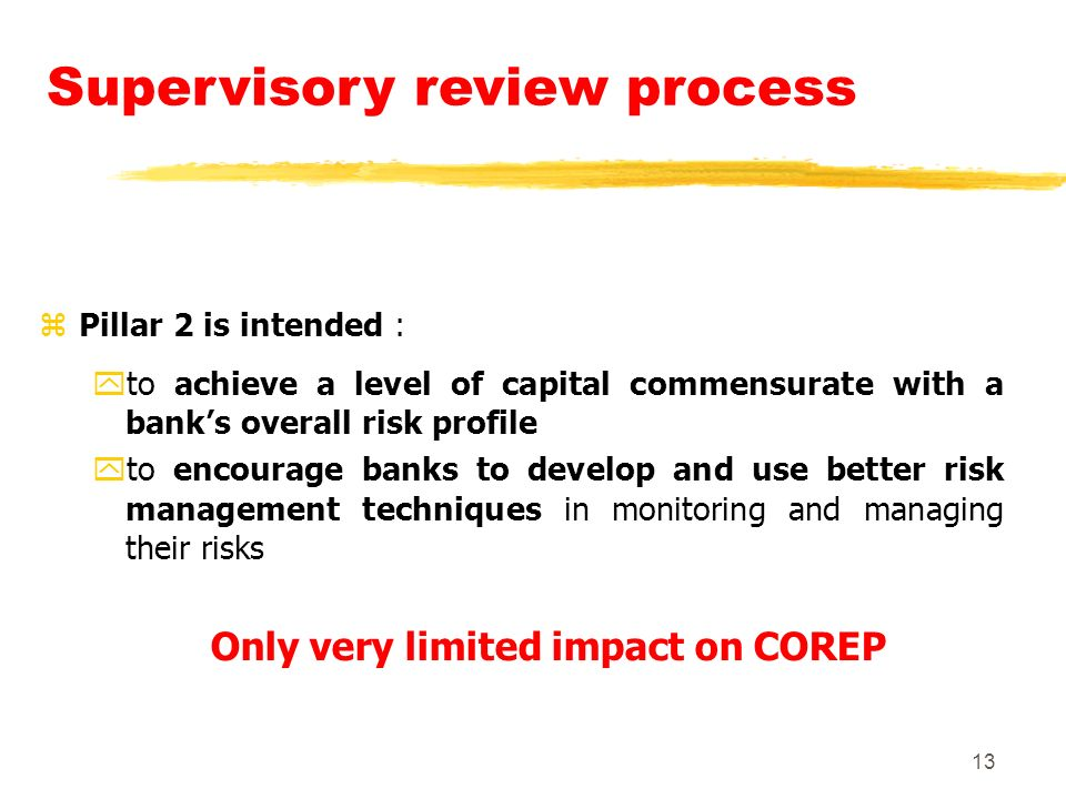 13 Supervisory review process zPillar 2 is intended : yto achieve a level of capital commensurate with a banks overall risk profile yto encourage banks to develop and use better risk management techniques in monitoring and managing their risks Only very limited impact on COREP