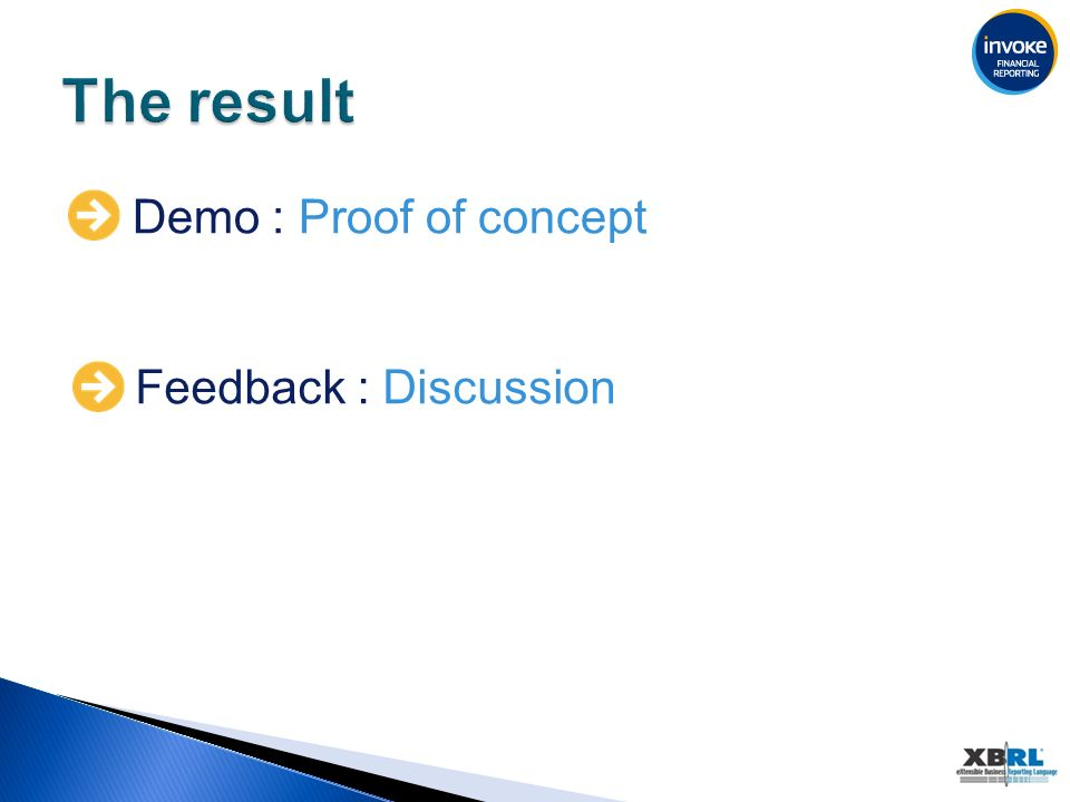 Demo : Proof of concept Feedback : Discussion