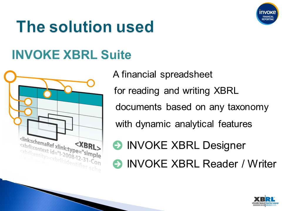 INVOKE XBRL Suite A financial spreadsheet for reading and writing XBRL documents based on any taxonomy with dynamic analytical features INVOKE XBRL Designer INVOKE XBRL Reader / Writer