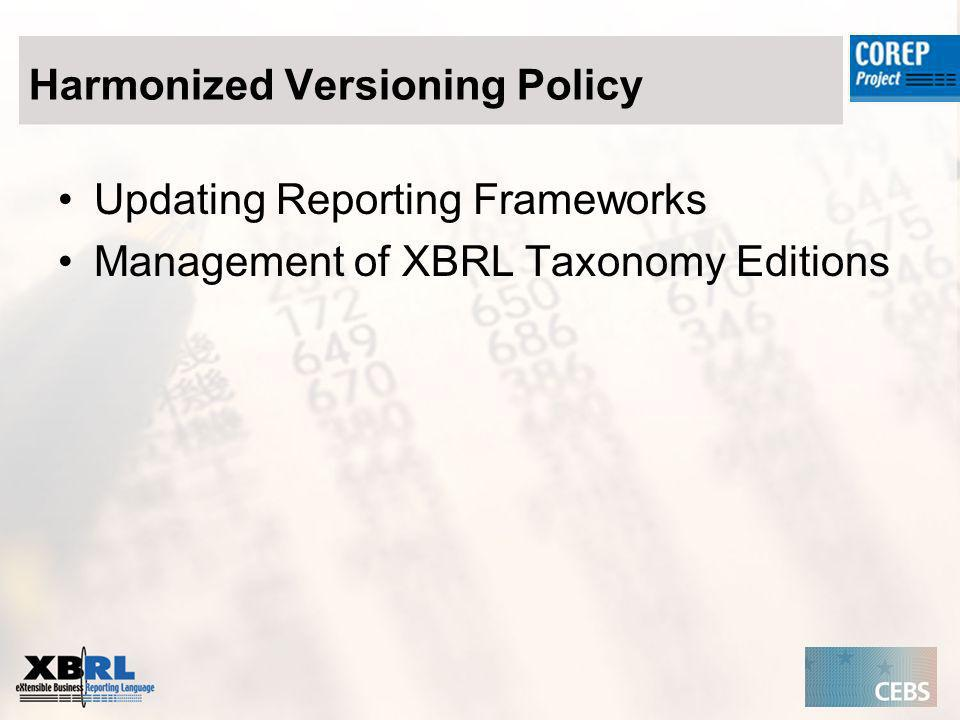 Harmonized Versioning Policy Updating Reporting Frameworks Management of XBRL Taxonomy Editions
