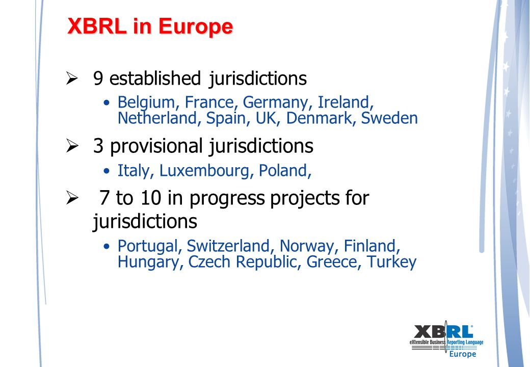 XBRL in Europe 9 established jurisdictions Belgium, France, Germany, Ireland, Netherland, Spain, UK, Denmark, Sweden 3 provisional jurisdictions Italy, Luxembourg, Poland, 7 to 10 in progress projects for jurisdictions Portugal, Switzerland, Norway, Finland, Hungary, Czech Republic, Greece, Turkey