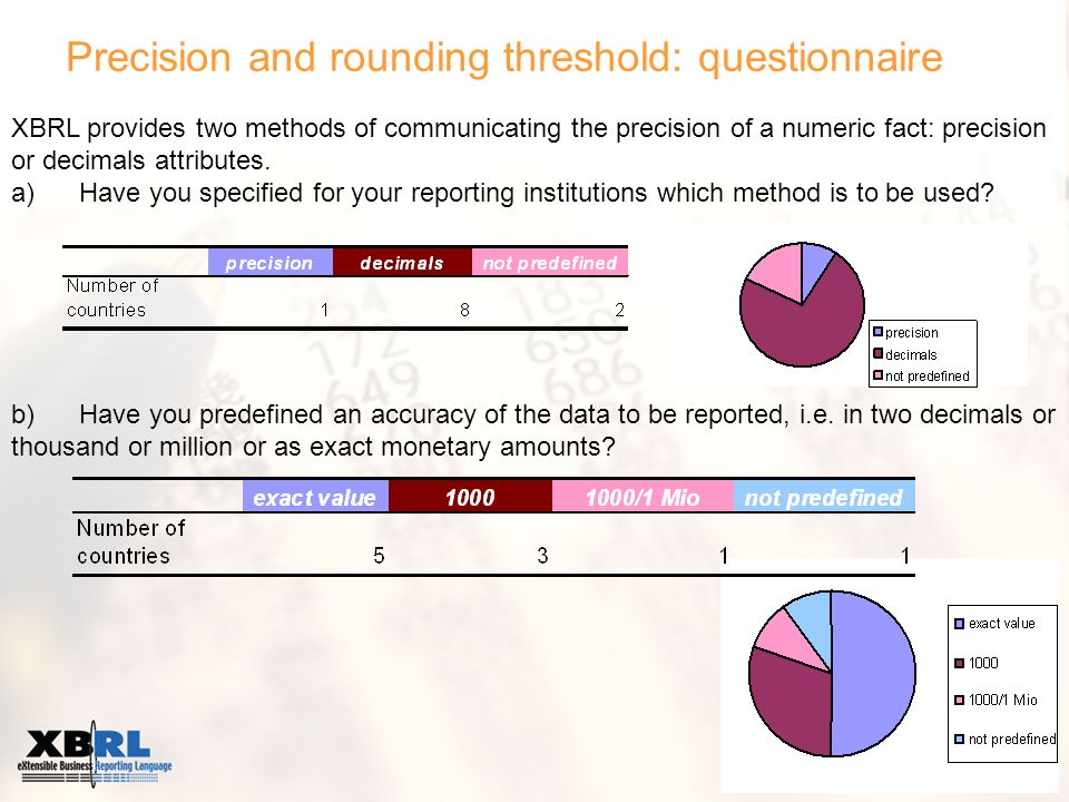 Precision and rounding threshold: questionnaire XBRL provides two methods of communicating the precision of a numeric fact: precision or decimals attributes.