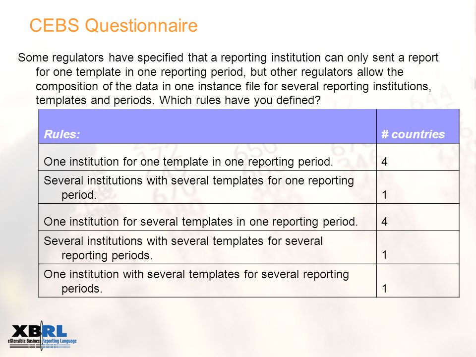CEBS Questionnaire Some regulators have specified that a reporting institution can only sent a report for one template in one reporting period, but other regulators allow the composition of the data in one instance file for several reporting institutions, templates and periods.