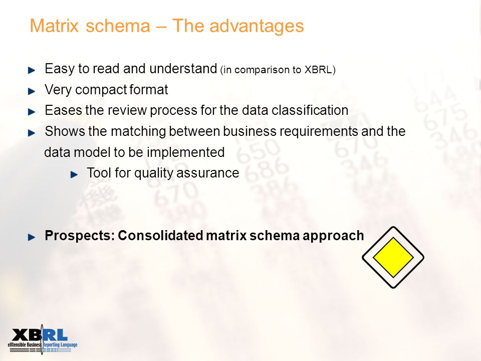 Matrix schema – The advantages Easy to read and understand (in comparison to XBRL) Very compact format Eases the review process for the data classification Shows the matching between business requirements and the data model to be implemented Tool for quality assurance Prospects: Consolidated matrix schema approach