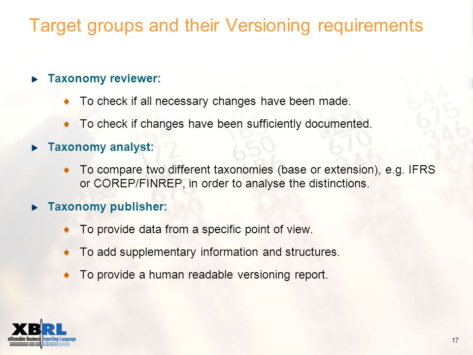 Target groups and their Versioning requirements Taxonomy reviewer: To check if all necessary changes have been made.