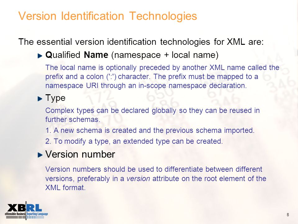 Version Identification Technologies The essential version identification technologies for XML are: Qualified Name (namespace + local name) The local name is optionally preceded by another XML name called the prefix and a colon ( : ) character.