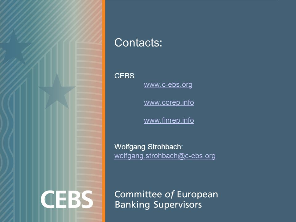 Contacts: CEBS Wolfgang Strohbach: