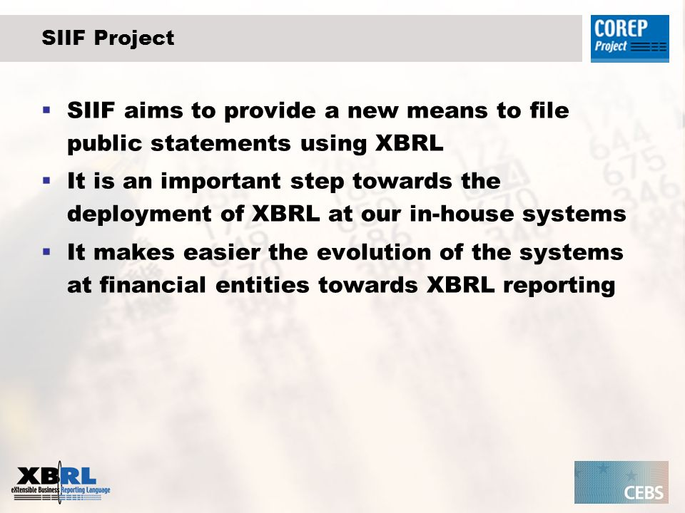 SIIF Project SIIF aims to provide a new means to file public statements using XBRL It is an important step towards the deployment of XBRL at our in-house systems It makes easier the evolution of the systems at financial entities towards XBRL reporting
