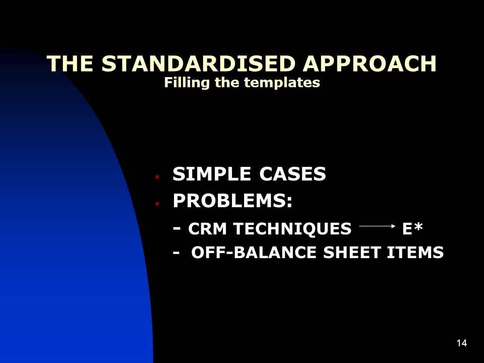 14 THE STANDARDISED APPROACH Filling the templates SIMPLE CASES PROBLEMS: - CRM TECHNIQUES E* - OFF-BALANCE SHEET ITEMS