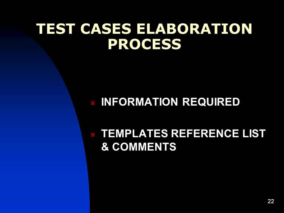 22 TEST CASES ELABORATION PROCESS INFORMATION REQUIRED TEMPLATES REFERENCE LIST & COMMENTS