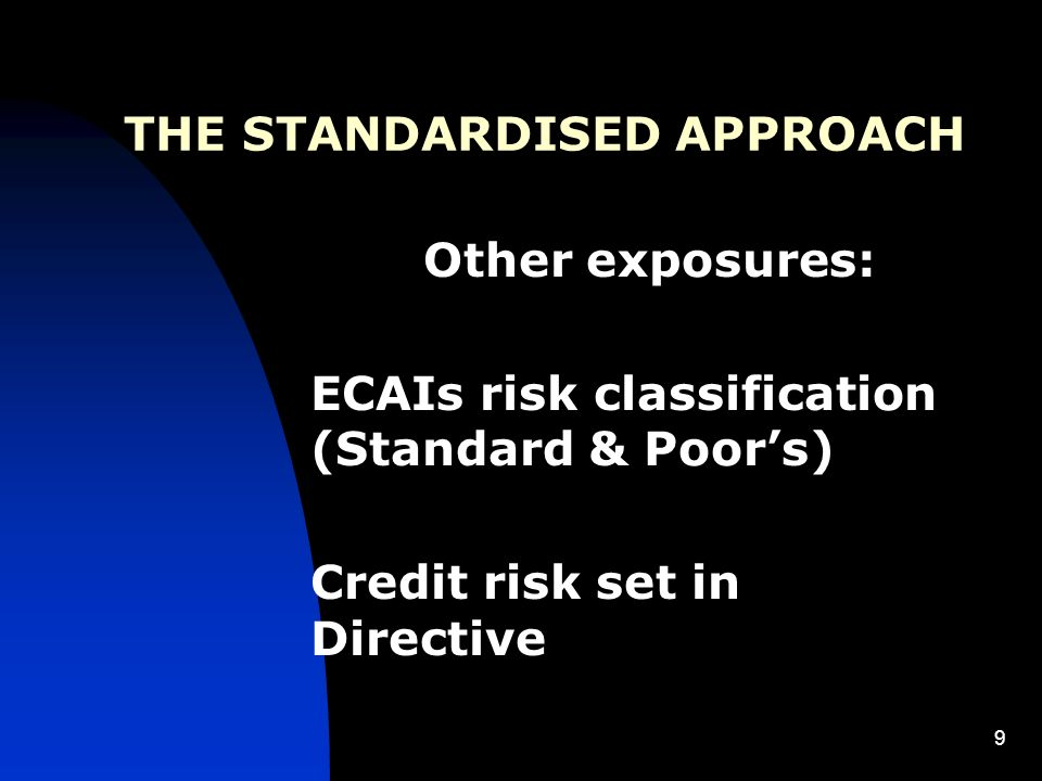 9 THE STANDARDISED APPROACH Other exposures: ECAIs risk classification (Standard & Poors) Credit risk set in Directive