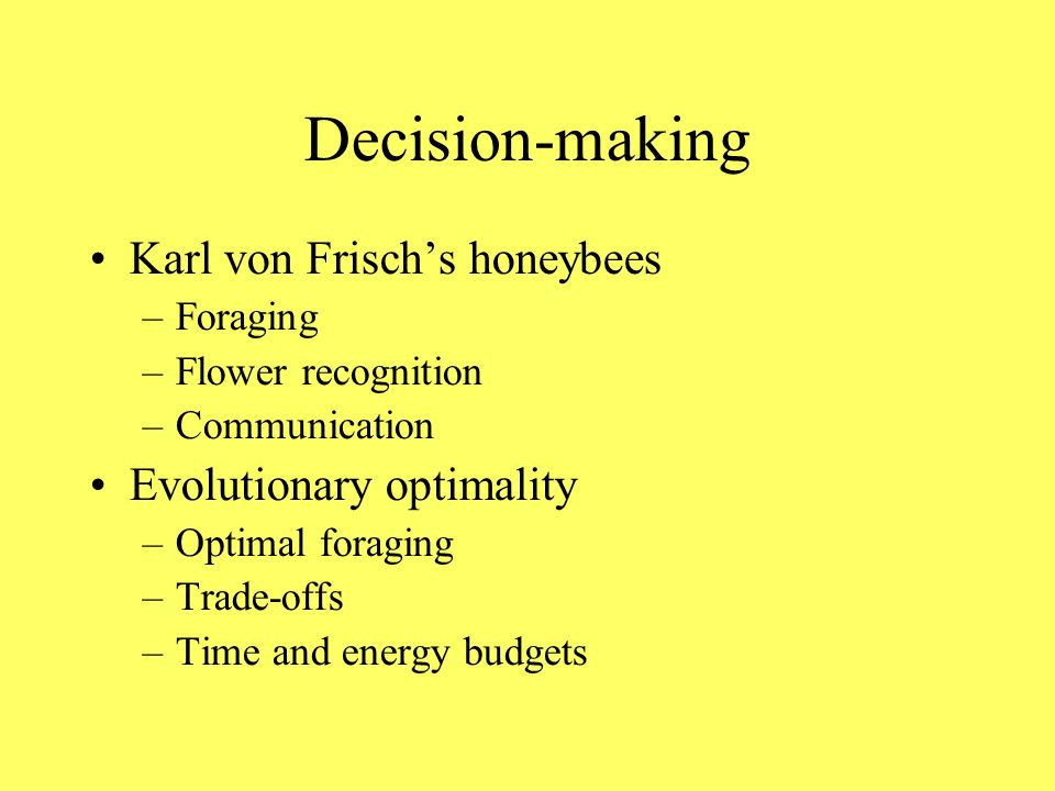 Decision-making Karl von Frischs honeybees –Foraging –Flower recognition –Communication Evolutionary optimality –Optimal foraging –Trade-offs –Time and energy budgets