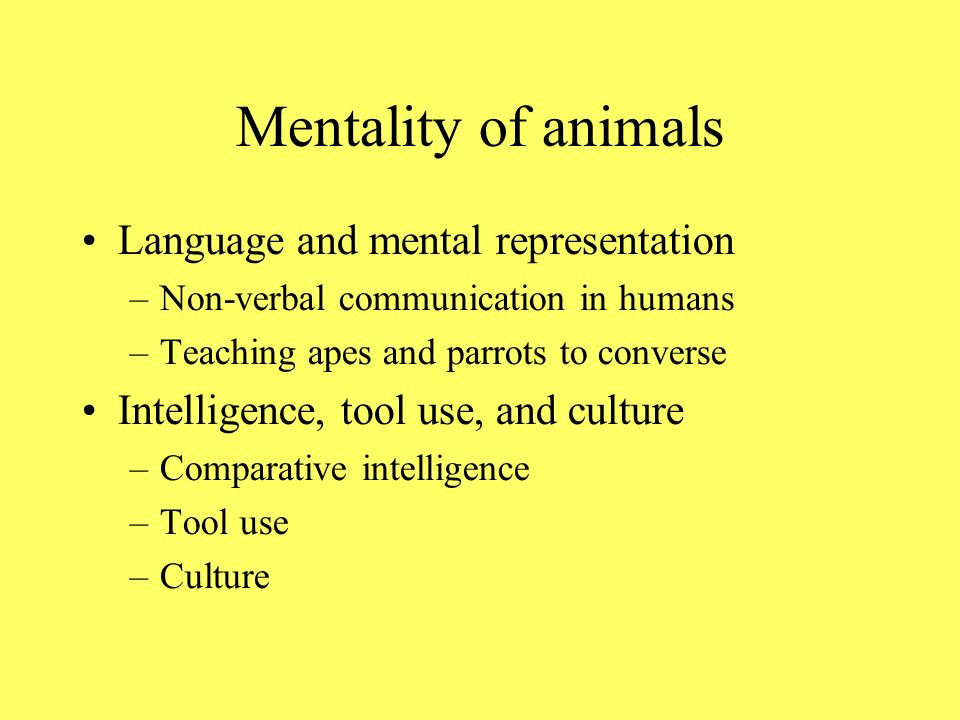 Mentality of animals Language and mental representation –Non-verbal communication in humans –Teaching apes and parrots to converse Intelligence, tool use, and culture –Comparative intelligence –Tool use –Culture