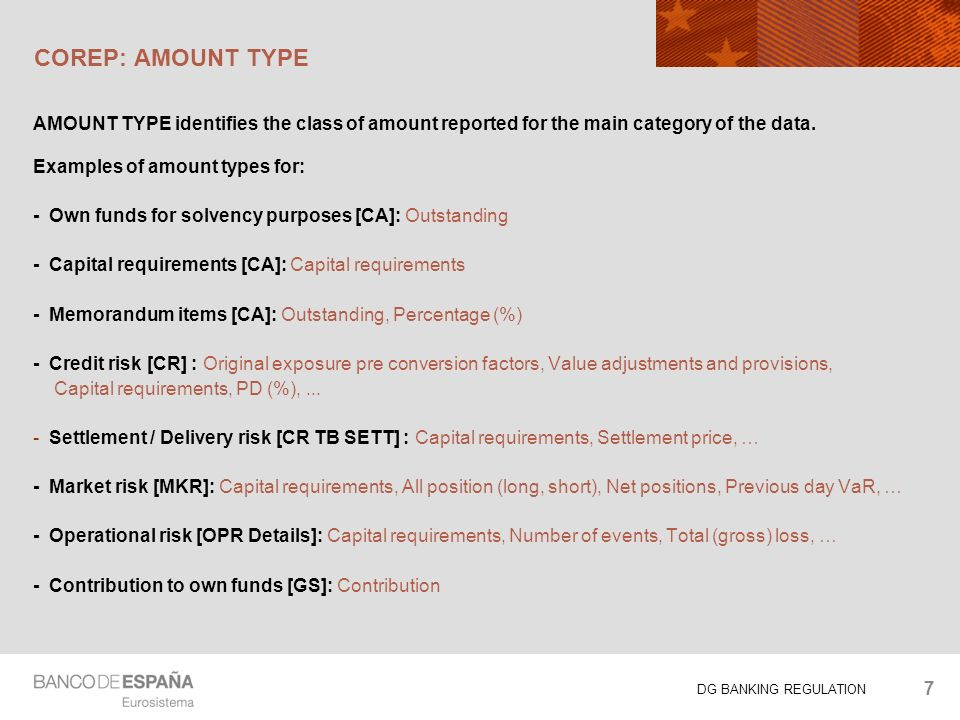 DG BANKING REGULATION COREP: AMOUNT TYPE AMOUNT TYPE identifies the class of amount reported for the main category of the data.