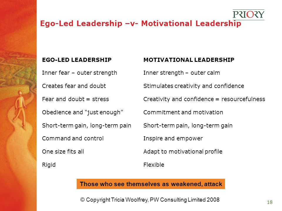 18 Ego-Led Leadership –v- Motivational Leadership EGO-LED LEADERSHIP Inner fear – outer strength Creates fear and doubt Fear and doubt = stress Obedience and just enough Short-term gain, long-term pain Command and control One size fits all Rigid MOTIVATIONAL LEADERSHIP Inner strength – outer calm Stimulates creativity and confidence Creativity and confidence = resourcefulness Commitment and motivation Short-term pain, long-term gain Inspire and empower Adapt to motivational profile Flexible Those who see themselves as weakened, attack © Copyright Tricia Woolfrey, PW Consulting Limited 2008