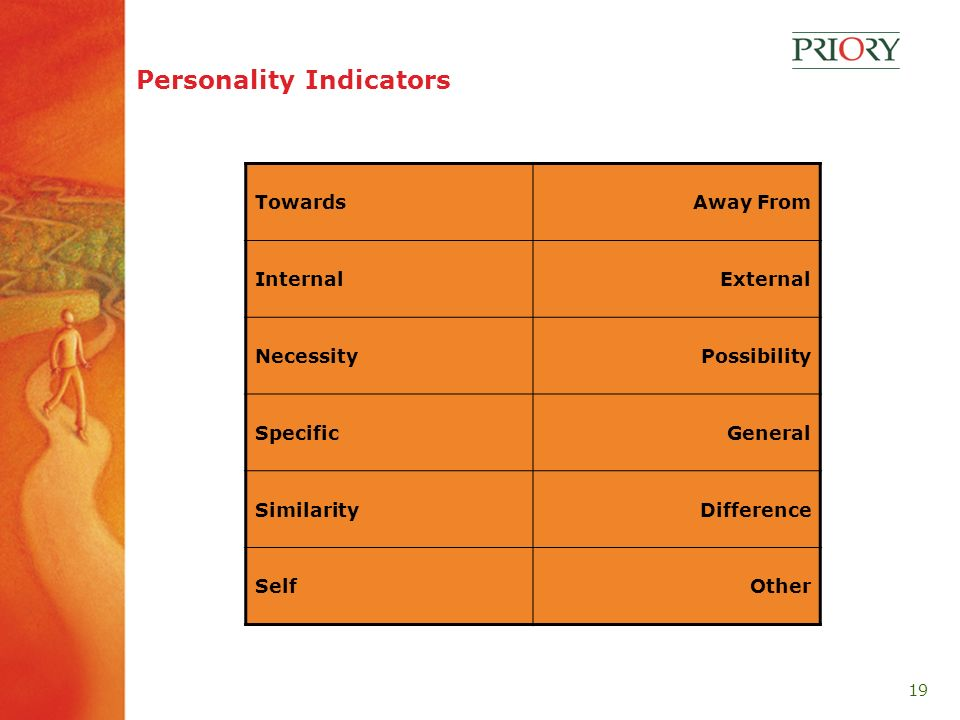 19 Personality Indicators TowardsAway From InternalExternal NecessityPossibility SpecificGeneral SimilarityDifference SelfOther