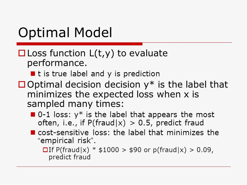 Optimal Model Loss function L(t,y) to evaluate performance.