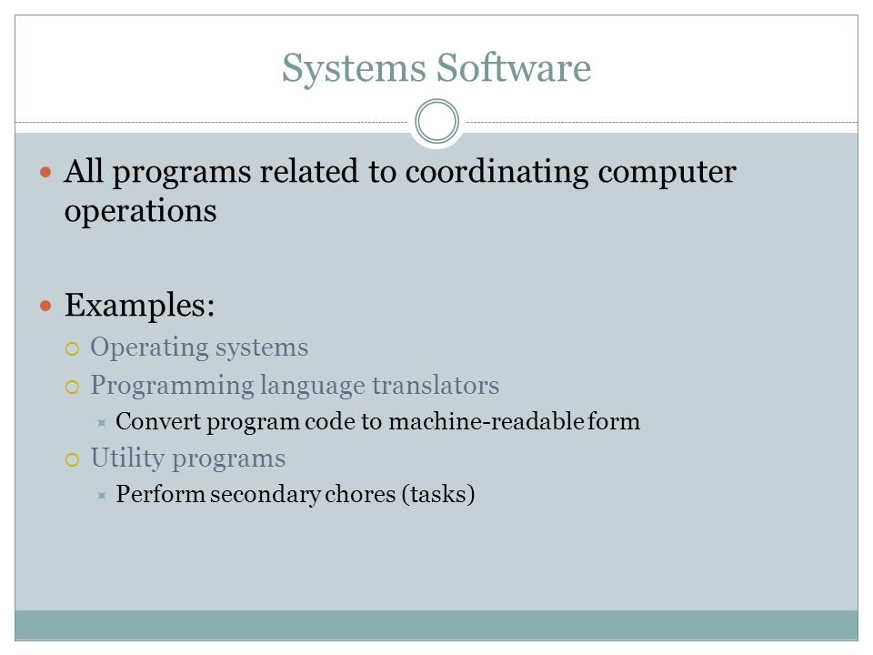 Systems Software All programs related to coordinating computer operations Examples: Operating systems Programming language translators Convert program code to machine-readable form Utility programs Perform secondary chores (tasks)