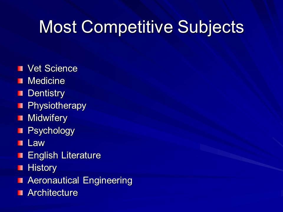 Most Competitive Subjects Vet Science MedicineDentistryPhysiotherapyMidwiferyPsychologyLaw English Literature History Aeronautical Engineering Architecture