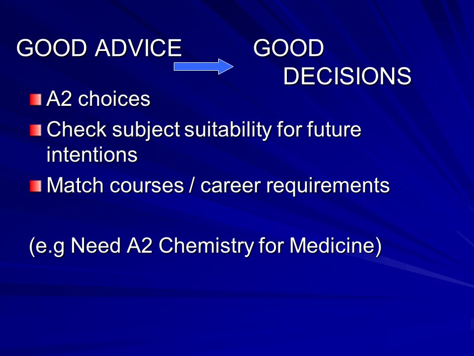 A2 choices Check subject suitability for future intentions Match courses / career requirements (e.g Need A2 Chemistry for Medicine) GOOD ADVICE GOOD DECISIONS