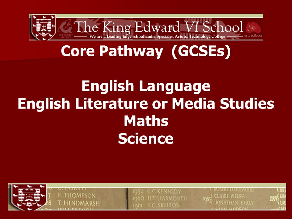 Core Pathway (GCSEs) English Language English Literature or Media Studies Maths Science