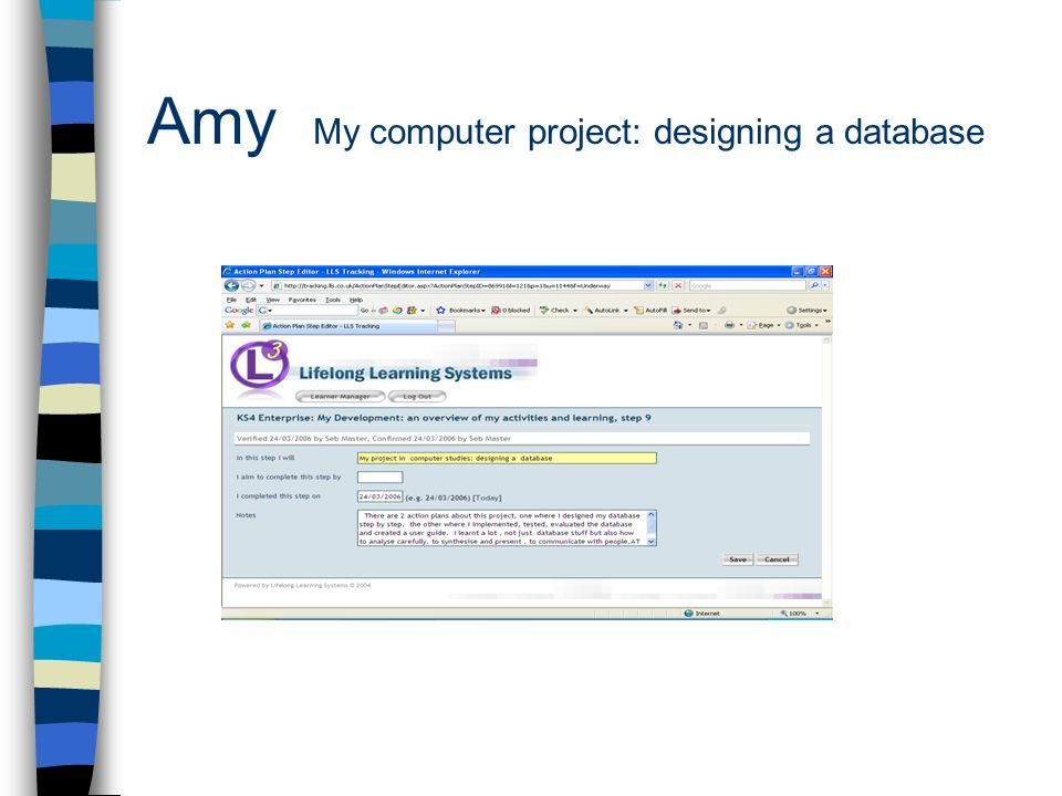 Amy My computer project: designing a database