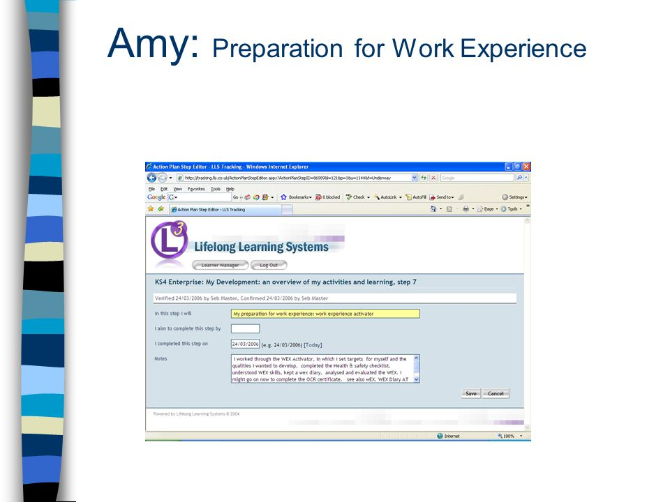 Amy: Preparation for Work Experience