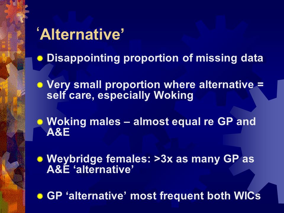 Alternative Disappointing proportion of missing data Very small proportion where alternative = self care, especially Woking Woking males – almost equal re GP and A&E Weybridge females: >3x as many GP as A&E alternative GP alternative most frequent both WICs