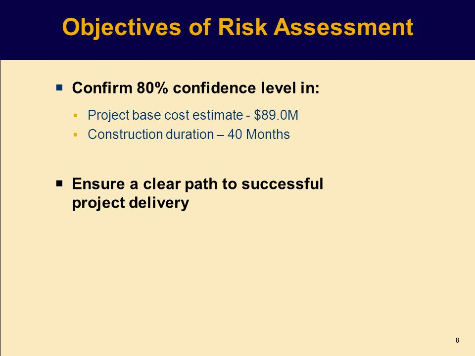 Objectives of Risk Assessment Confirm 80% confidence level in: Project base cost estimate - $89.0M Construction duration – 40 Months Ensure a clear path to successful project delivery 8